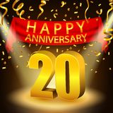 Szczęśliwy 20th Rocznicowy świętowanie z złotymi confetti i światłem reflektorów Zdjęcia Stock