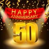 Szczęśliwy 50th Rocznicowy świętowanie z złotymi confetti i światłem reflektorów ilustracja wektor