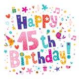 Szczęśliwy 15th Urodzinowy kartka z pozdrowieniami Ilustracja Wektor