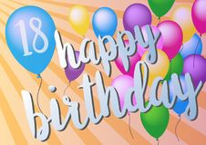 Szczęśliwy 18th urodzinowy kartka z pozdrowieniami z kolorowymi balonami Obraz Royalty Free