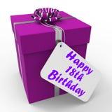 Szczęśliwy 18th Urodzinowy prezent Pokazuje odświętność Fotografia Royalty Free