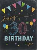 SZCZĘŚLIWY 30th urodziny! koloru literowania kredowa karta Obraz Stock