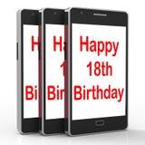 Szczęśliwy 18th urodziny Na telefonie Znaczy Osiemnaście Zdjęcia Stock