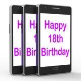 Szczęśliwy 18th urodziny Na telefonie Znaczy Osiemnaście Zdjęcia Royalty Free