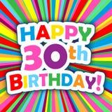SZCZĘŚLIWY 30th urodziny! wektor karta na jaskrawym i kolorowym tle Obrazy Stock