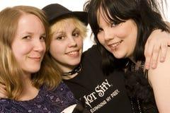 szczęśliwy trzy młode dziewczyny Obrazy Royalty Free