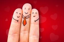 Szczęśliwy trzy palca Zdjęcia Royalty Free