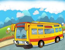 Szczęśliwy twarz autobus jedzie przez miasta - ilustracja dla dzieci - turysta - ilustracja wektor