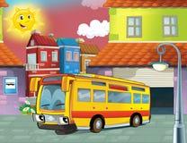 Szczęśliwy twarz autobus w mieście Zdjęcia Stock