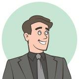 Szczęśliwy uśmiechnięty biznesmen patrzeje daleko od Obrazy Royalty Free