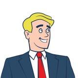 Szczęśliwy uśmiechnięty biznesmen patrzeje daleko od odizolowywający na bielu Zdjęcia Stock