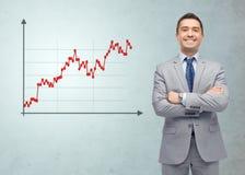 Szczęśliwy uśmiechnięty biznesmen w kostiumu z rynkami walutowymi sporządza mapę Fotografia Royalty Free