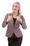 Szczęśliwy uśmiechnięty bizneswoman z aprobata gestem Fotografia Royalty Free