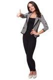 Szczęśliwy uśmiechnięty bizneswoman z aprobata gestem Fotografia Stock