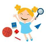 Szczęśliwy uczeń z szkolnymi akcesoriami Obrazy Stock