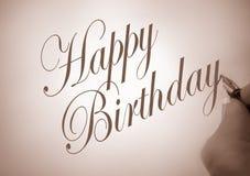 szczęśliwy urodzinowy callligraphy royalty ilustracja