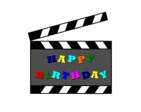 szczęśliwy urodzinowy clapboard Zdjęcie Royalty Free