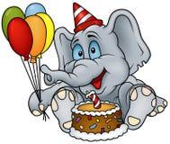 szczęśliwy urodzinowy słoń Obrazy Royalty Free