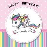 szczęśliwy urodziny Ładna jednorożec karta ilustracji