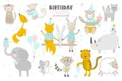 szczęśliwy urodziny Śliczna ręka rysujący zwierzę styl Wektorowa kolekcja royalty ilustracja