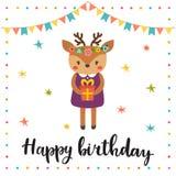 szczęśliwy urodziny Śliczny kartka z pozdrowieniami z śmiesznym małym rogaczem Zdjęcie Stock