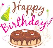 szczęśliwy urodziny Czekoladowy Urodzinowy tort Obraz Royalty Free
