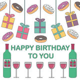 szczęśliwy urodziny Prezenty, donuts i wino na białym tle, Obrazy Royalty Free