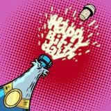 szczęśliwy urodziny Szampańska butelka otwiera, piana i korek ilustracji