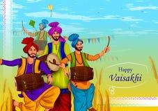 Szczęśliwy Vaisakhi mieszkanów pendżabu święta religijne tło dla nowego roku festiwalu Pundżab India royalty ilustracja