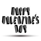 Szczęśliwy Valentine's dnia powitania zwrot robić z 3d retro stylem Zdjęcia Royalty Free