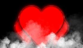 Szczęśliwy valentine dnia serc abstrakta kolorowy tło Dymna mglista mgły tekstura na odosobnionym czarnym tle ilustracja wektor