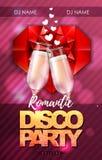 Szczęśliwy valentines dnia dyskoteki przyjęcia plakat z szampańskimi szkłami royalty ilustracja