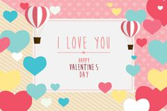 Szczęśliwy valentines dnia kartka z pozdrowieniami z sercami i balonem, plecy Obraz Royalty Free