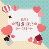 Szczęśliwy valentines dnia kartka z pozdrowieniami z sercami i czekoladą, półdupki Fotografia Stock