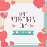 Szczęśliwy valentines dnia ramy kartka z pozdrowieniami z sercami, tło Fotografia Royalty Free