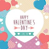 Szczęśliwy valentines dnia ramy kartka z pozdrowieniami z sercami, tło Zdjęcia Stock