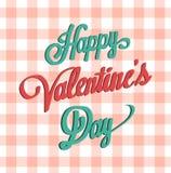 Szczęśliwy valentines dnia wektor na gingham wzorze Obraz Royalty Free