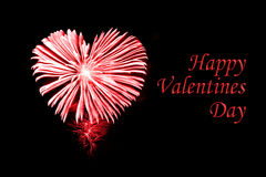 Szczęśliwy valentines dzień, czerwoni fajerwerki w kształcie serce Obrazy Stock