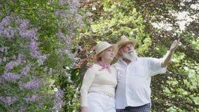 Szczęśliwy w miłości starszej parze w lato parku zbiory