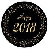 Szczęśliwy 2018 w srebnej złocistej confetti okręgu ramie Obrazy Royalty Free