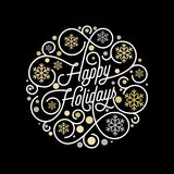 Szczęśliwy wakacje kaligrafii literowanie i złoty płatka śniegu wzór na białym tle dla Xmas kartka z pozdrowieniami projekta Wekt royalty ilustracja