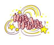 Szczęśliwy wakacje kartki bożonarodzeniowej doodle styl odizolowywający ilustracja wektor