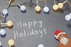 Szczęśliwy wakacje tekst na chalkboard Fotografia Stock