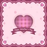 Szczęśliwy walentynka dnia kartka z pozdrowieniami z sercem i inskrypcja w środku Kwiaty w tle Fotografia Stock