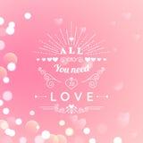 Szczęśliwy walentynka dnia kartka z pozdrowieniami z typografią, serce, strzała, Bokeh tło ilustracja wektor