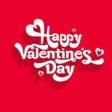 Szczęśliwy walentynka dnia literowania logo Na czerwonym background& Zdjęcia Royalty Free