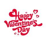 Szczęśliwy walentynka dnia literowania logo Na czerwonym background& Obrazy Royalty Free
