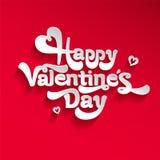 Szczęśliwy walentynka dnia literowania logo Na czerwonym background& Fotografia Stock