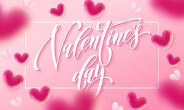 Szczęśliwy walentynka dnia literowania valentine i teksta serc wzór na różowym tle Wektorowy walentynka dnia kartka z pozdrowieni Zdjęcie Stock