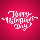 Szczęśliwy walentynka dnia literowanie 14th Luty kartka z pozdrowieniami Biała inskrypcja na różowym tle z sercami Obrazy Royalty Free